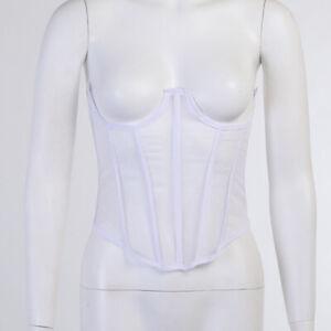 Women Mesh Bustier Boned Waist Training Underbust Lace Up Corset Body Shaper
