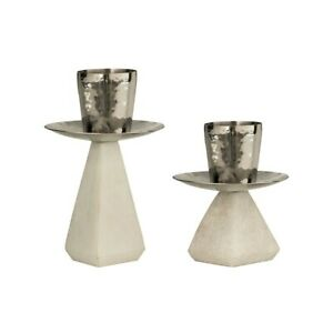 Elk Lighting Forever Set of 2, Taper Holders, Silver and White Marble - 410062