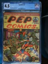 PEP COMICS #35 CGC VG+ 4.5; LT-OW; rare!; WWII bondage cvr!