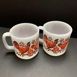 Vintage Glasbake milkglass coffee mugs