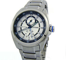 CITIZEN MEN ECO-DRIVE JAPAN MADE DATE 43mm AM-PM DIAL STAINLESS STEEL BU3000-55A