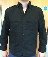 Lee Cooper Mens Size S / M Black Long Sleeve Cargo Shirt