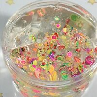 "SLIME ""FRUIT SALAD"" SCENTED Crystal Clear Thick Stretchy Fimo Slices 2 4 6 8 oz"
