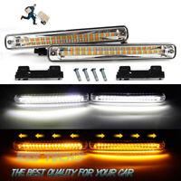 Feu de jour LED séquentiel lampe DRL Blanc avec Clignotant dynamique Orange 12V