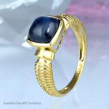 Ring in 585/- Gelbgold mit 1 Saphir glänzend