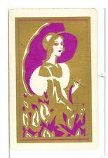 "Single Vintage Playing Card ""Glamour Girl/Parasol"" Art Deco, Purple/Gold"