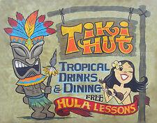 Tiki Hut Hawaiian Print retro style tiki bar art decor vintage hawaii hula