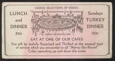 POSTCARD SIZE INK BLOTTER MERRY-GO-ROUND CAFE PROMO AD 1930'S