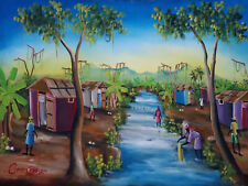 Peinture originale haïtien artiste Cupido Rodrigue 24x36inc Caribbean haïtien Art