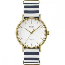 Mens Womens Watch TIMEX WEEKENDER TW2P91900 Golden Fabric Blue INDIGLO