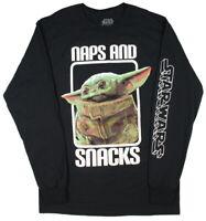 Star Wars Mens' The Mandalorian Baby Yoda Naps And Snacks Long Sleeve Shirt