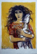 Walter Spitzer lithograhie originale / Jeune fille à la chèvre 150 ex / 69 x 52