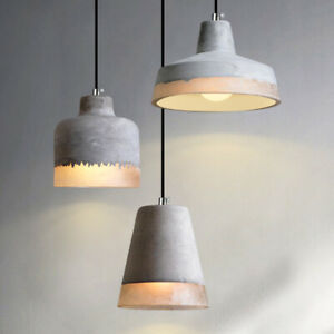 Country Style Grey Concrete Cement Shade White Resin Cable Ceiling Pendant Light