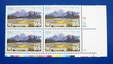 Sc # 2444 ~ Plate # Block ~ 25 cent Wyoming Statehood, 100th Anniversary Issue