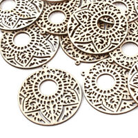 10 Natural Filigree Round Pendants Carved Flower Hollow Large Dangle Charms 64mm