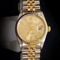 Men Rolex 2Tone 18K Yellow Gold/Stainless Steel Datejust Jubilee Champagne 16013