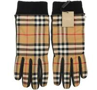 NEW BURBERRY CHECK NYLON BLACK LEATHER CASHMERE LINING GLOVES 9