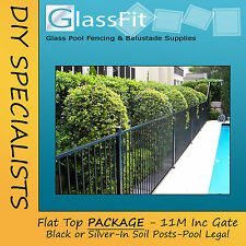 Flat Top Aluminium Pool Fencing 11m Package In Soil Posts Pool Compliant