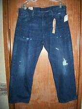 NWT LEVI'S 569 DARK WASH DESTRUCTED LOOSE STRAIGHT FIT JEANS SZ 32 X 30  $68.