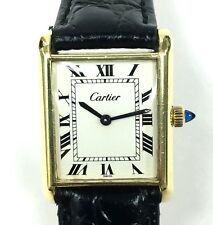 Ladies Vintage 1960s Cartier Gold Plated Manual Wind Tank Watch