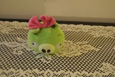 "Angry Bird  Green Pig Bird 5"" Pink Bow in Hair  Commonwealth Plush toy"