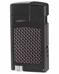 XiKAR 523BKCF Forte Single Torch Flame Cigar Lighter Black Carbon Fiber