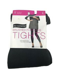 New Nonsense Brushed Footless Tights Womens Large Gray Brushed Fleece Liner
