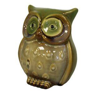 Money Box Ceramic Owl Classic Stylish Coin Piggy Bank Green Home Decoration UK
