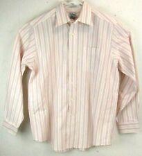 LL Bean Mens Dress Shirt 15.5 34 White Red Orange Stripe Wrinkle Resistant