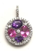 Sterling Silver 925 Pink Sapphire Purple Amethyst Cluster CZ Halo Round Pendant