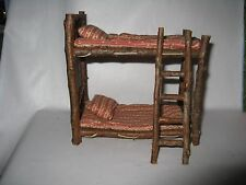 "Rustic Miniature Wood Cabin Fairy Doll Bunk Beds Ladder for 3 1/2"" to 5"" dolls"