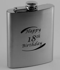 18th Birthday Stainless Steel 7oz Hip Flask Engravable Keepsake Free Gift Box