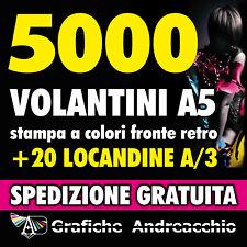 STAMPA 5000 VOLANTINI A5 A COLORI FRONTE RETRO + 20 LOCANDINE A3 OMAGGIO