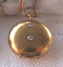 Antique 14kt Diamond pocket Watch/Locket  Needs work