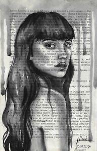 original painting 13,5x21,5 cm 321LN book page art watercolor female portrait