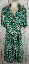 Suzi Chin Maggy Boutique Belted Dress Sz 12 Print Teal Brown Career Classic #W