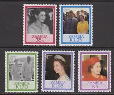 QEII Queen Elizabeth 60th Birthday 1986 MNH Stamp Set Zambia