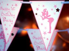 FAIRY PRINCESS BUNTING 3M PERSONALISED PINK  TINKERBELL 1ST BIRTHDAY BANNER