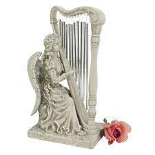 Heavenly Music Angel Playing Harp Wind Chimes Statue Garden Sculpture Small