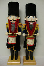 "Pair of  Wooden Nutcracker Drummers, Christmas Decor, 20"" High & 19 3/4"" High"