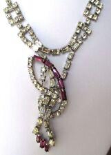 Top collier cristaux diamant navette améthyste bijou ancien couleur argent 3438