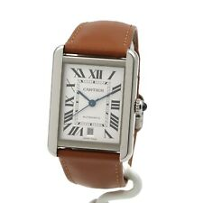 CARTIER TANK XL SOLO 3800 STAINLESS STEEL 595361YX BOX PAPERS NO RESERVE #8731