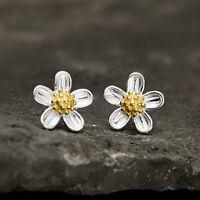 925 Sterling Silver Girls' Cute Little Daisy Sun Flower Blossom Stud Earrings