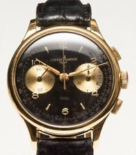 Rare Vintage Ulysse Nardin 37mm chronograph wristwatch solid gold 18k Valjoux