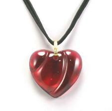 BACCARAT HEART LOVE RED CRYSTAL GOLD PLATED BAIL BLACK CORD NECKLACE PENDANT