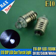 4X E10 Led Flashlight Replacement Bulb Torches Dashboard Lamp Light  White DC 3V