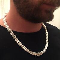 Königs Kette Silber 925 4mm Länge 65cm 58GR Vierkant Glänzend Halskette Breite
