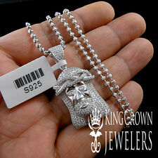 NEW REAL SILVER MICRO PAVE LAB DIAMONDS MINI JESUS CHARM PENDANT CHAIN NECKLACE