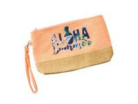 "9"" x 5.5"" Aloha Summer Canvas & Jute Makeup Cosmetic Pouch Bag"