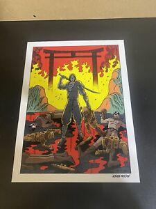 GAVIN MACKIE Game Art Poster Print Ninja Sword Flames Alien Anime Cartoon 16x12